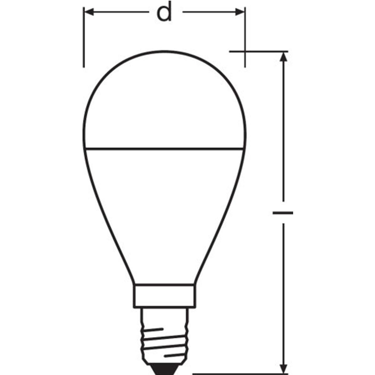 Lampadina LED, E14, Sferico, Opaco, Luce calda, 8W=806LM (equiv 60 W), 150° , OSRAM - 4