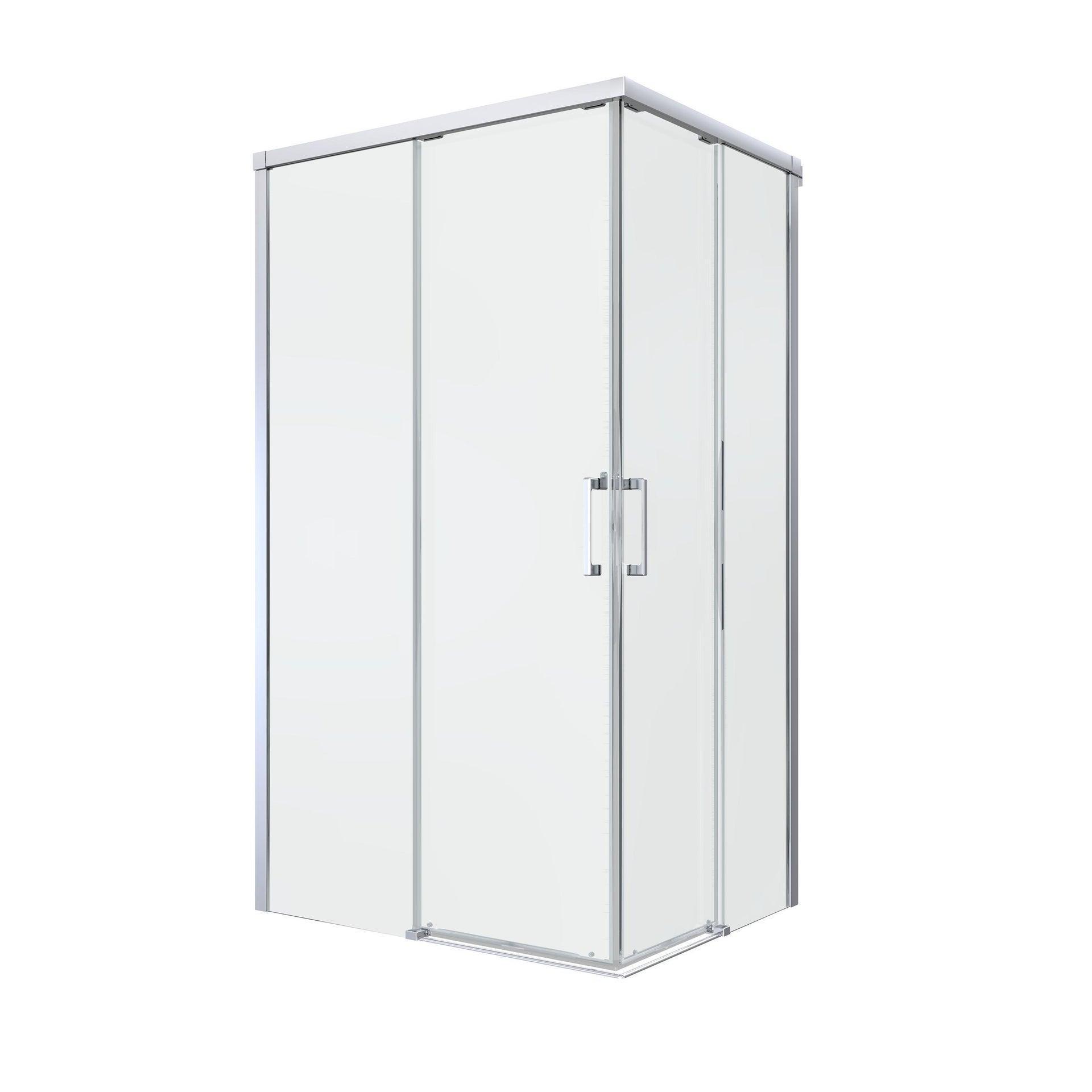 Box doccia rettangolare scorrevole Remix 80 x 120 cm, H 195 cm in vetro temprato, spessore 6 mm trasparente cromato - 5