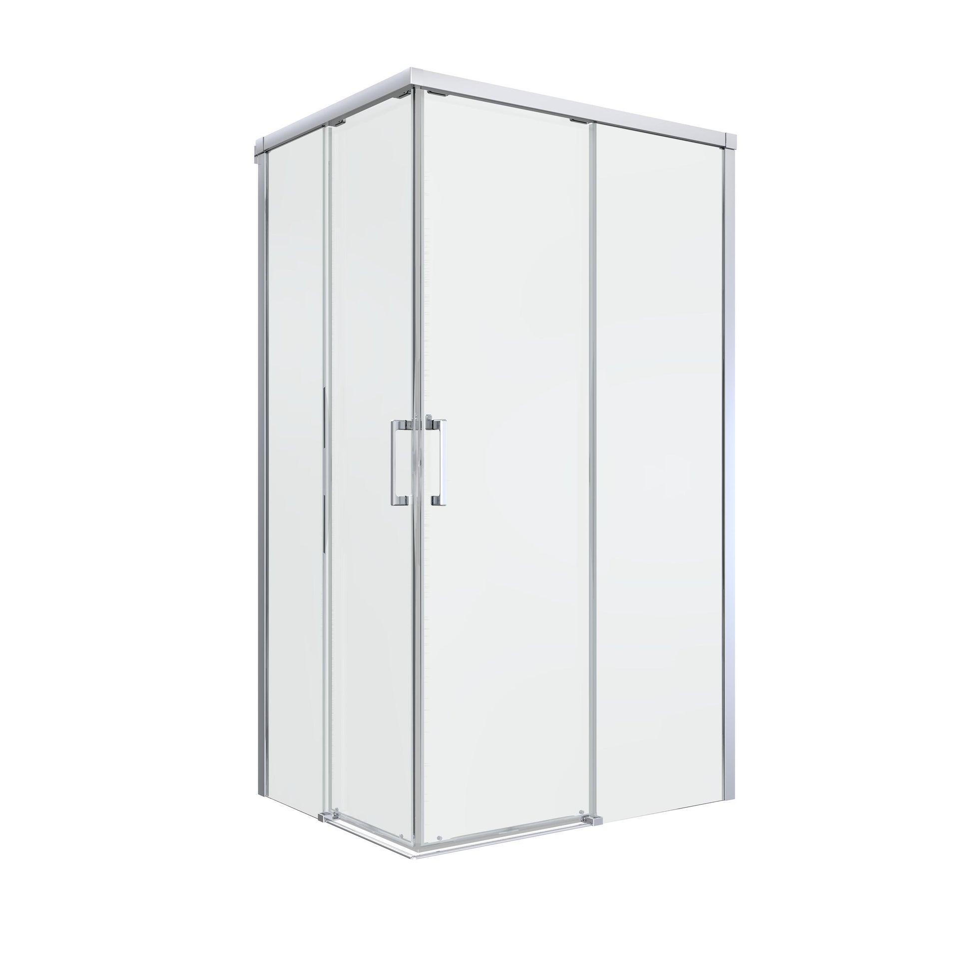 Box doccia rettangolare scorrevole Remix 80 x 120 cm, H 195 cm in vetro temprato, spessore 6 mm trasparente cromato - 11