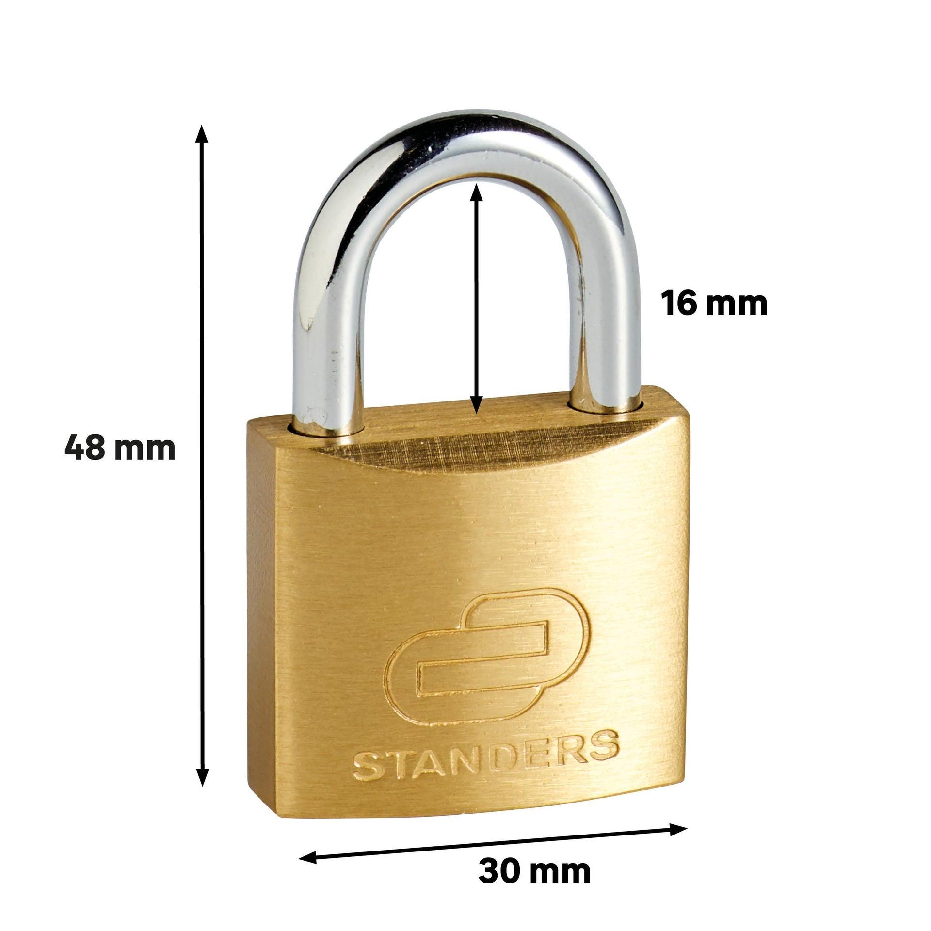 Lucchetto con chiave STANDERS in ottone x L 15 x Ø 5 mm - 6
