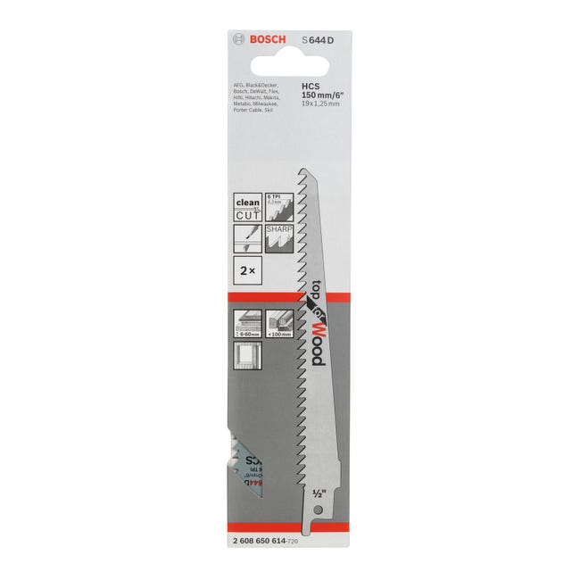 Lama per sega a gattuccio BOSCH PROFESSIONAL L 150.0 mm 2 pezzi - 1