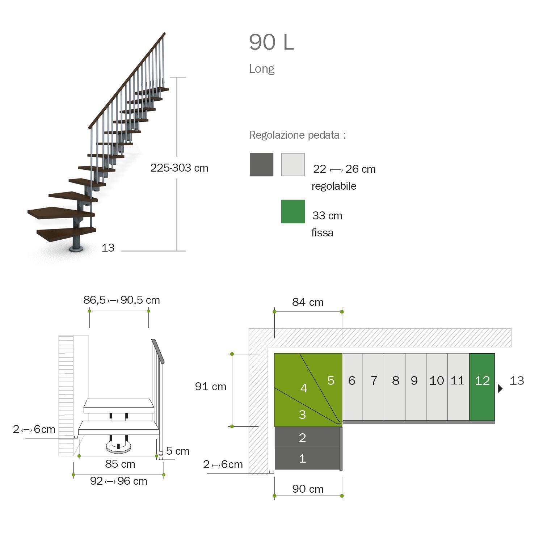 Scala a rampa 1/4 di giro Long FONTANOT L 90 cm, gradino faggio naturale, struttura bianco - 3