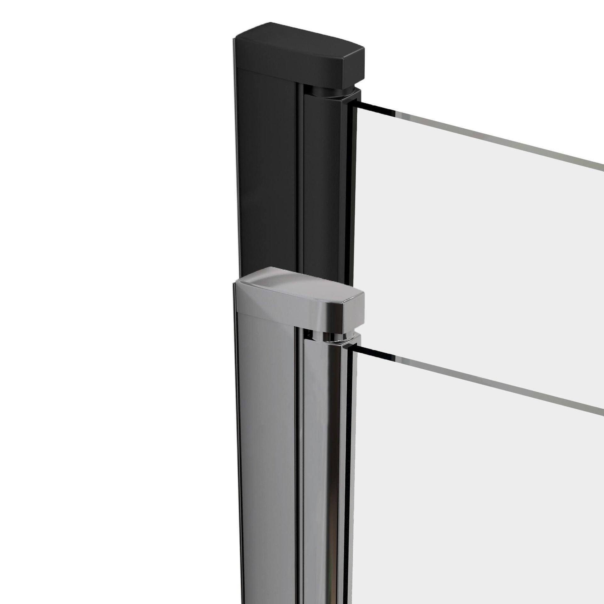 Box doccia rettangolare scorrevole Remix 80 x 120 cm, H 195 cm in vetro temprato, spessore 6 mm trasparente cromato - 6