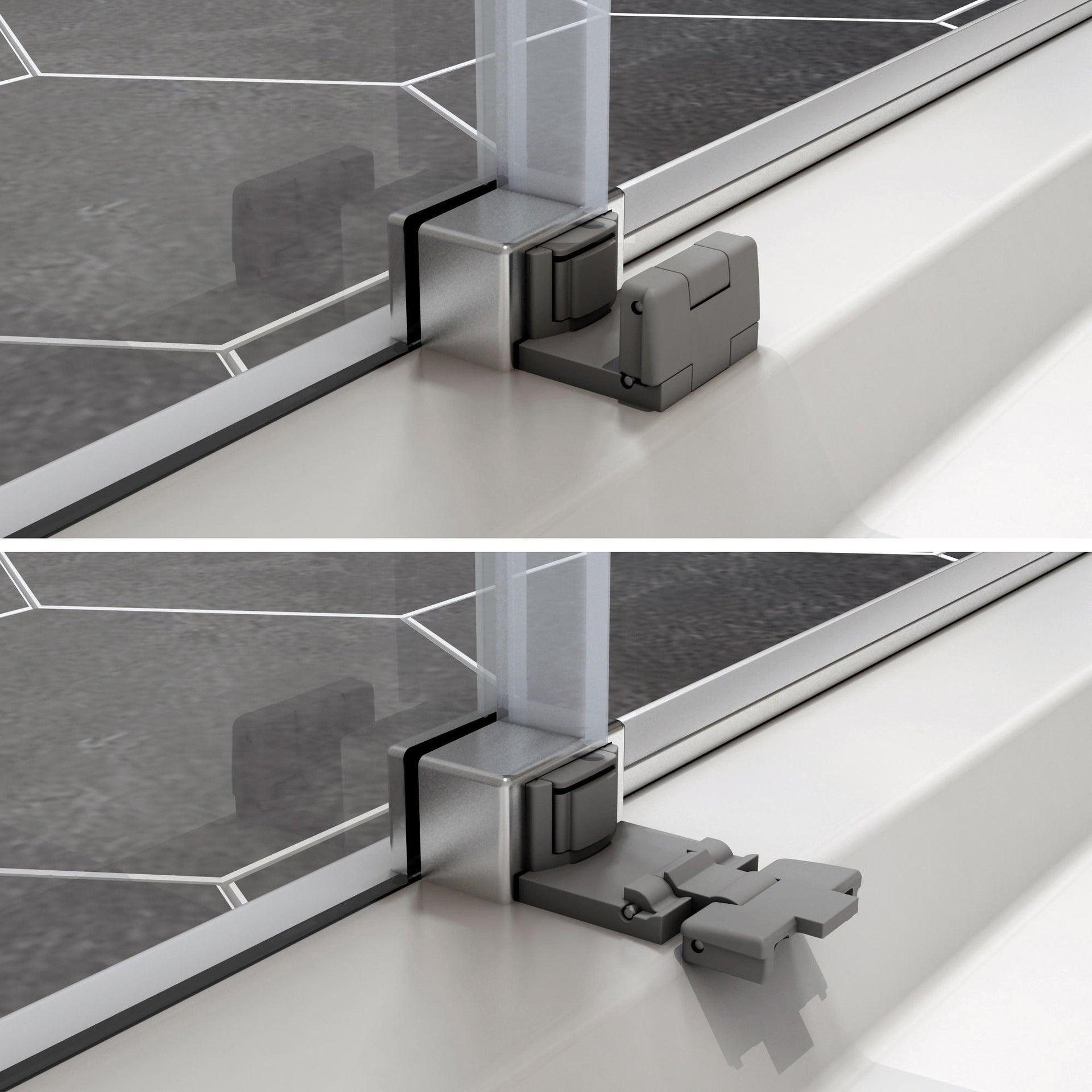 Box doccia rettangolare scorrevole Remix 80 x 120 cm, H 195 cm in vetro temprato, spessore 6 mm trasparente cromato - 3