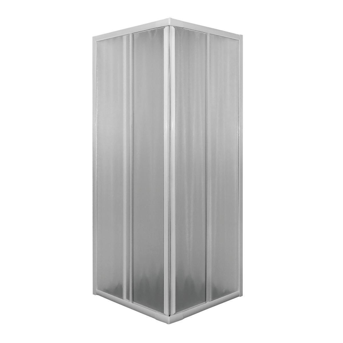 Box doccia rettangolare scorrevole Plumin 70 x 80 cm, H 185 cm in vetro temprato, spessore 3 mm acrilico piumato bianco - 2
