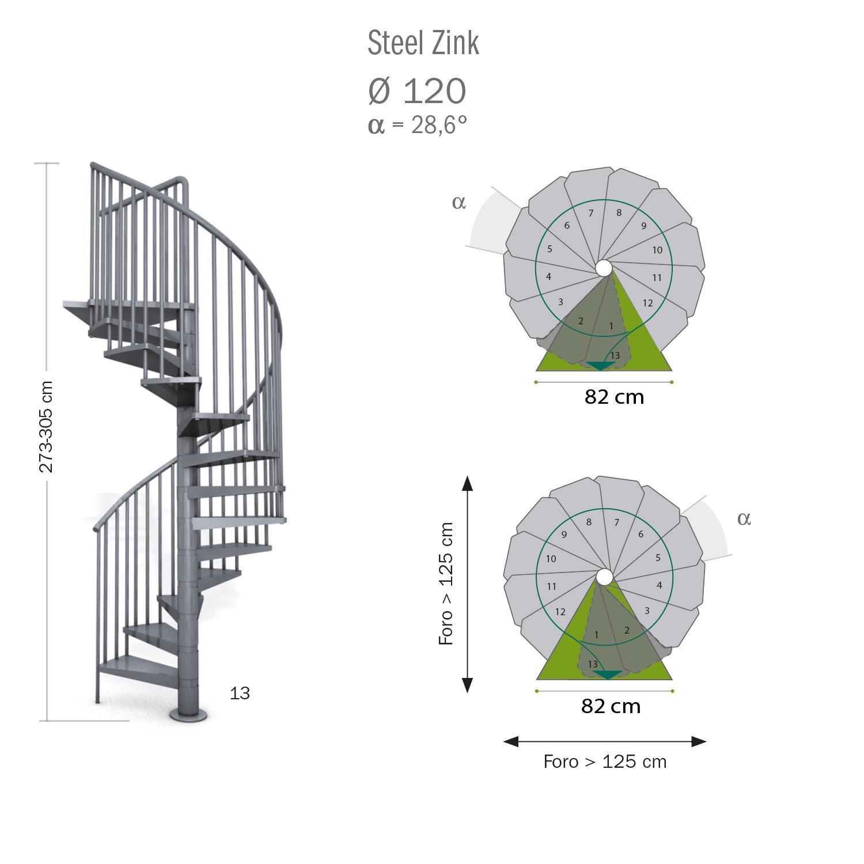 Scala a chiocciola tonda Steel Zink FONTANOT L 120 cm, gradino grigio zincato, struttura grigio zincato - 11