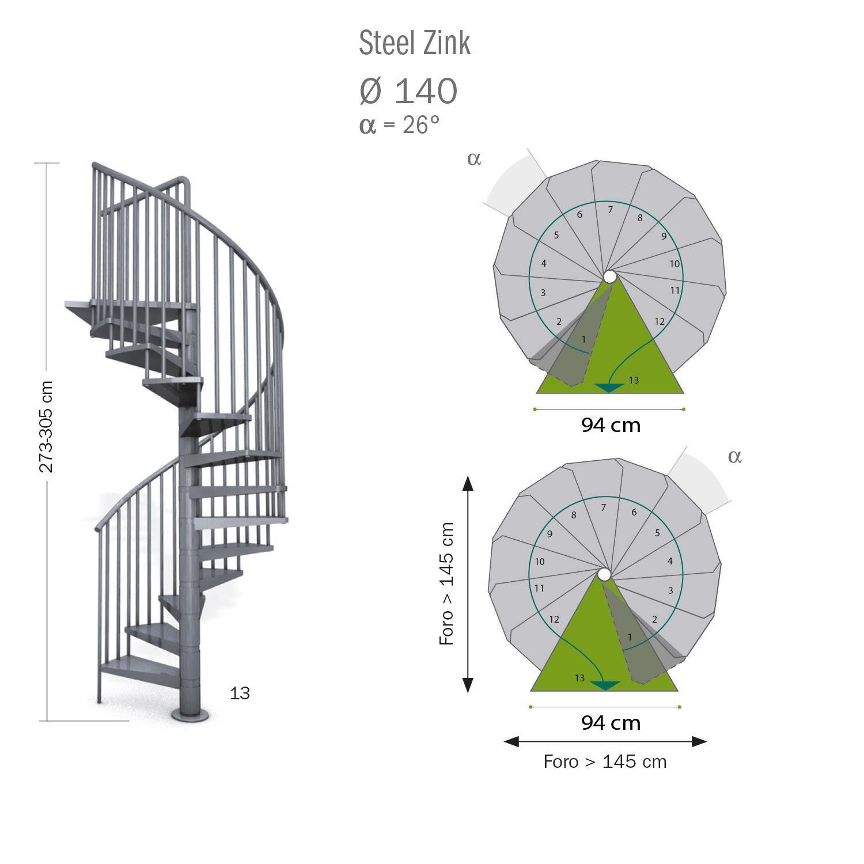 Scala a chiocciola tonda Steel Zink FONTANOT L 140 cm, gradino grigio zincato, struttura grigio zincato - 3