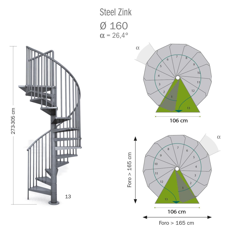 Scala a chiocciola tonda Steel Zink FONTANOT L 160 cm, gradino grigio zincato, struttura grigio zincato - 4