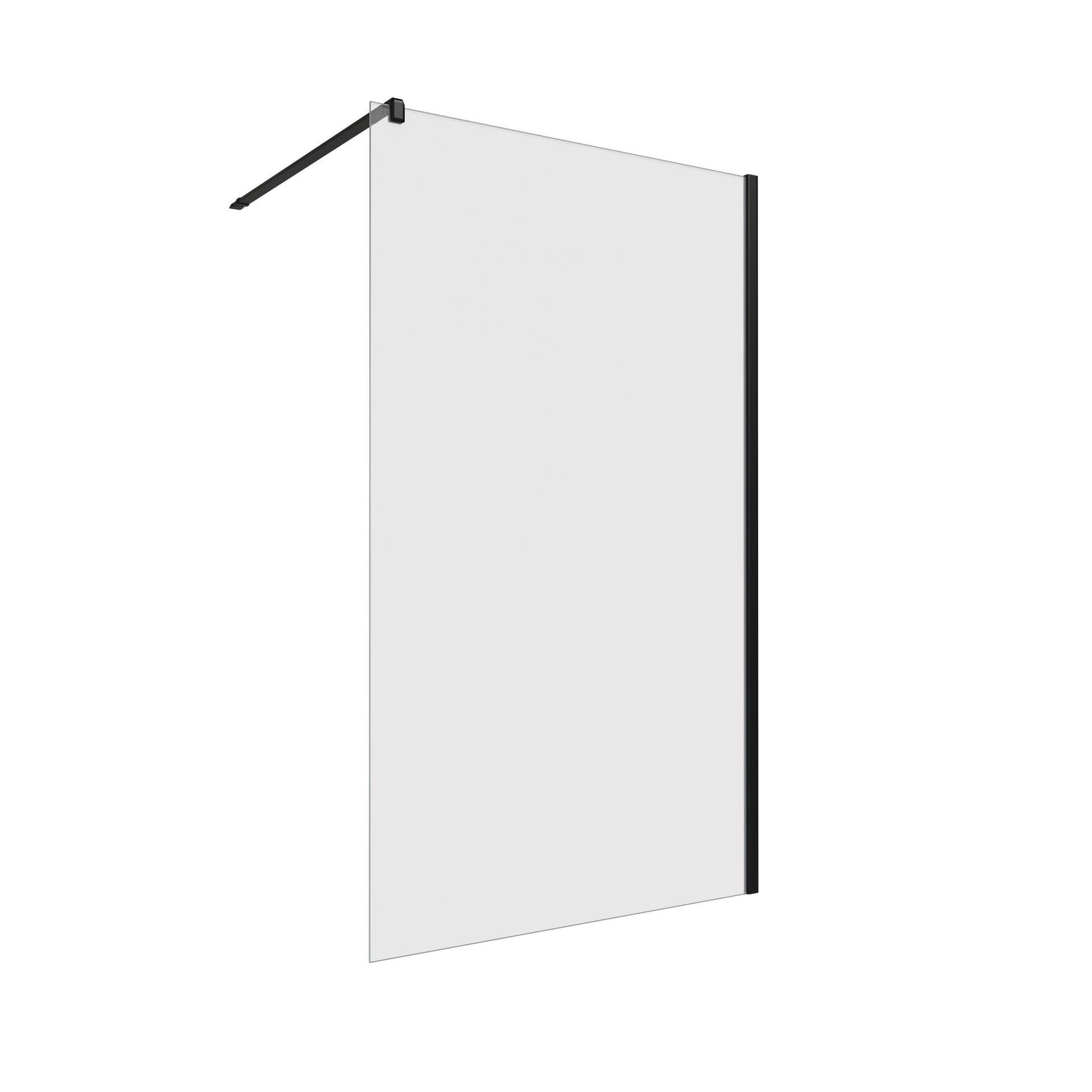 Doccia walk in L 118, H 200 cm, vetro 8 mm trasparente nero - 1