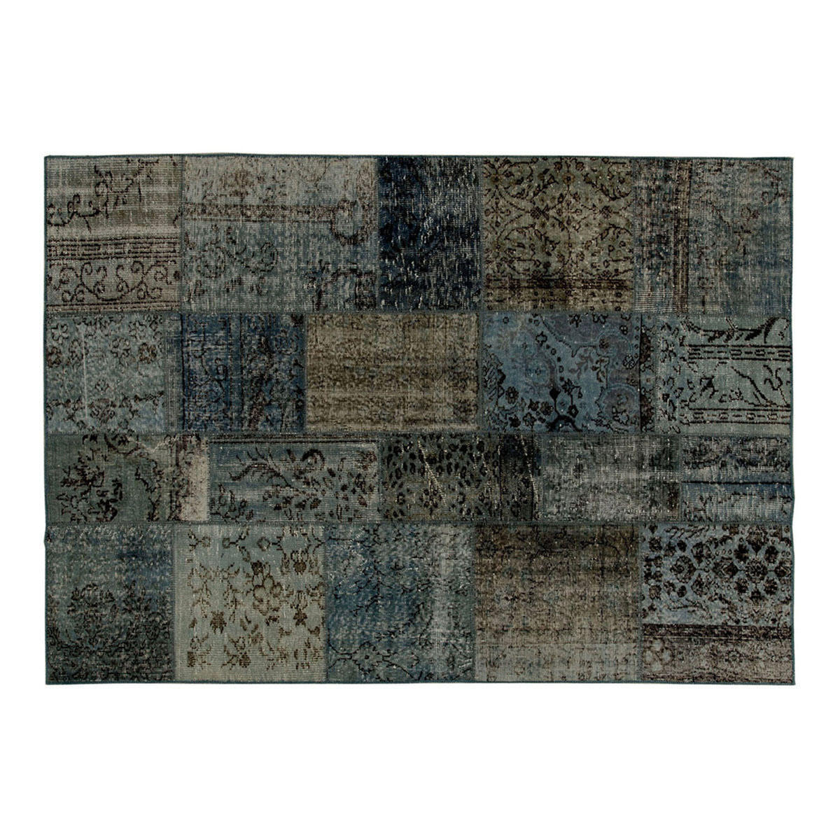 Tappeto Anatolian patchwork in lana, grigio, 60x200 - 1