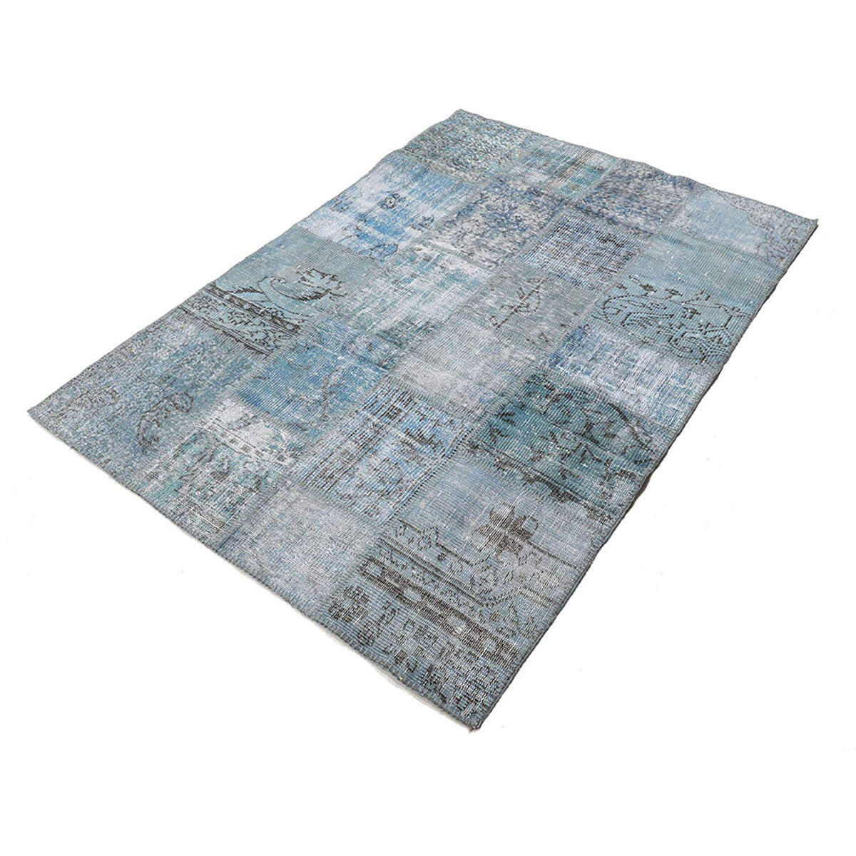 Tappeto Anatolian patchwork in lana, grigio, 60x200 - 5