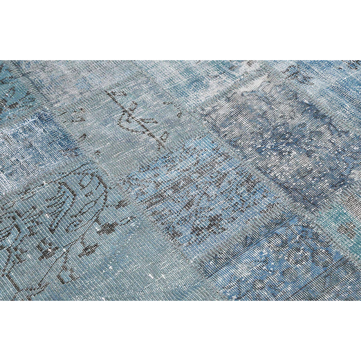 Tappeto Anatolian patchwork in lana, grigio, 60x200 - 3