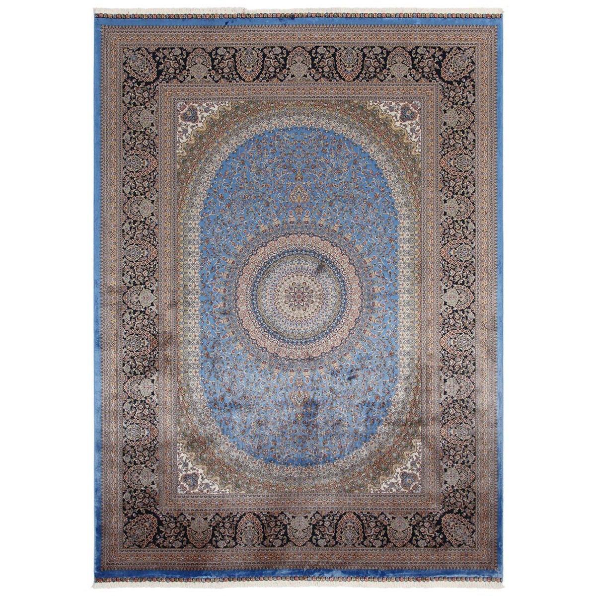 Tappeto Qoum Shah 5 in cotone, blu, 200x290 - 1
