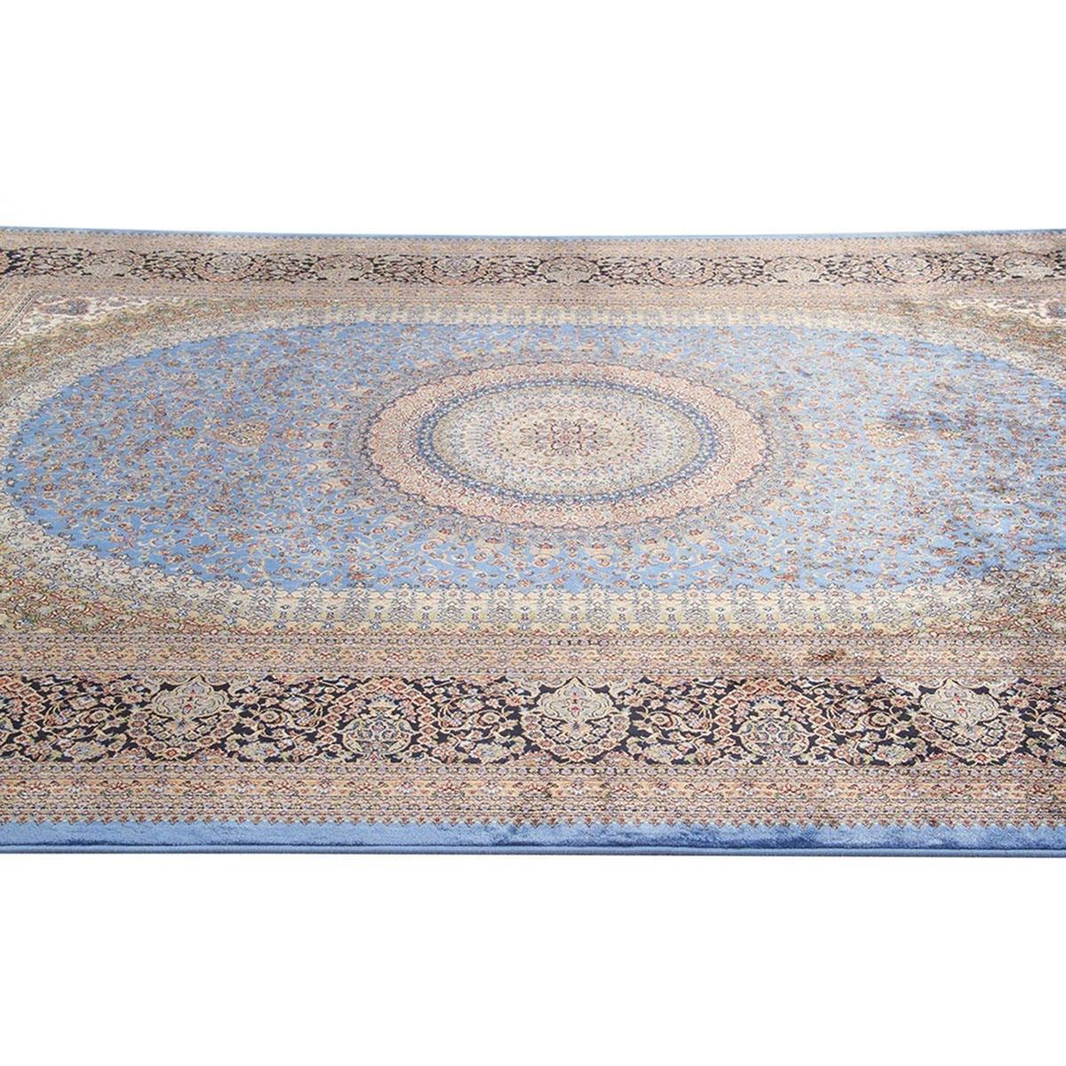 Tappeto Qoum Shah 5 in cotone, blu, 200x290 - 5