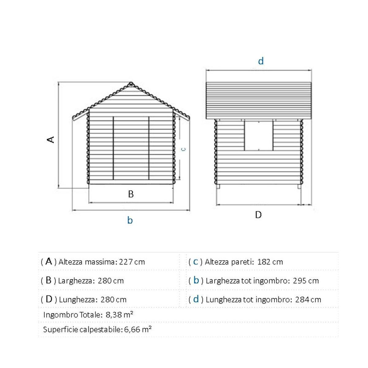 Casetta da giardino in legno Elista, superficie interna 6.66 m² e spessore parete 19 mm - 2