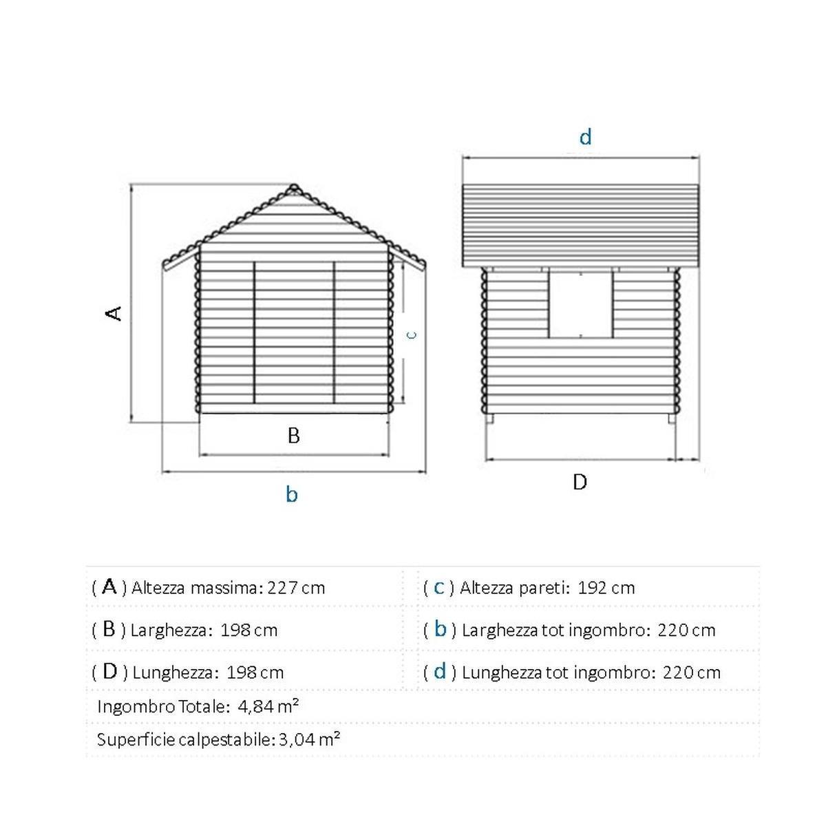Casetta da giardino in legno Almaty, superficie interna 3.04 m² e spessore parete 28 mm - 5