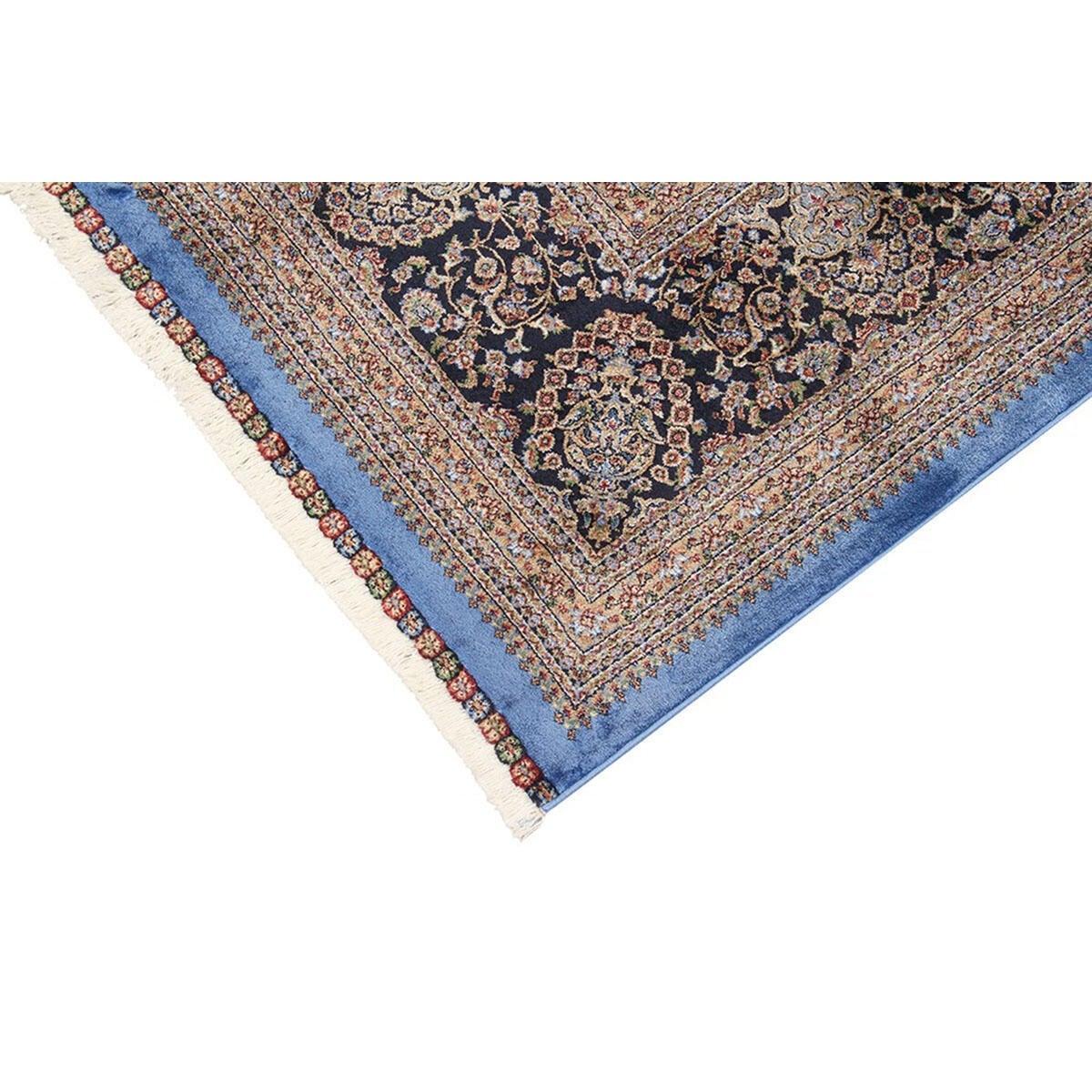 Tappeto Qoum Shah 5 in cotone, blu, 200x290 - 6