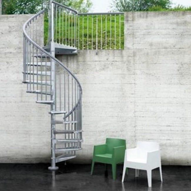 Scala a chiocciola tonda Steel Zink FONTANOT L 140 cm, gradino grigio zincato, struttura grigio zincato - 1