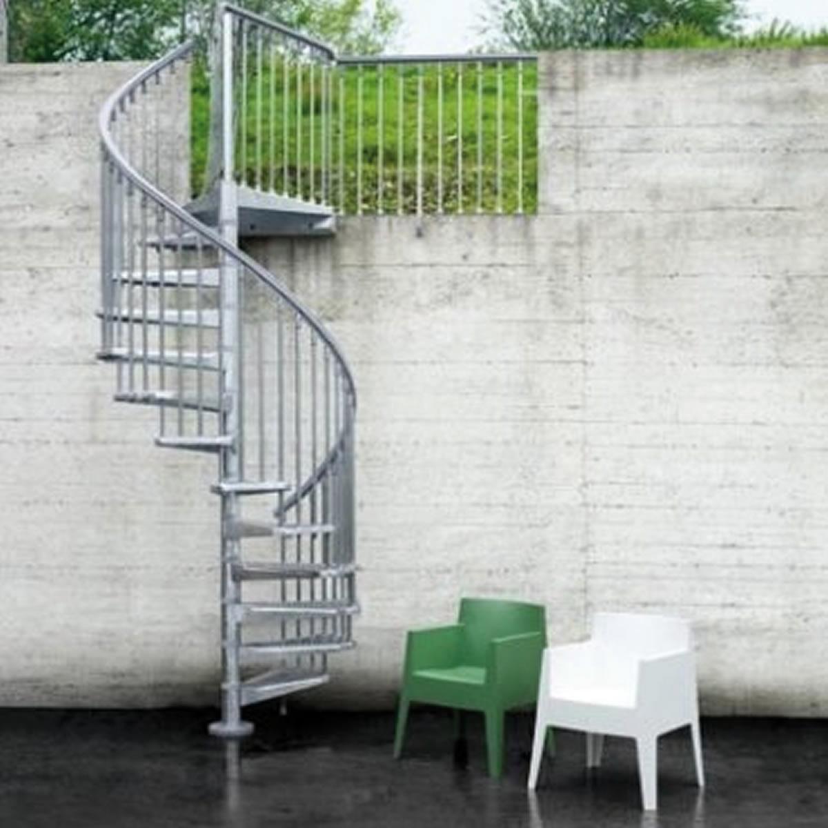 Scala a chiocciola tonda Steel Zink FONTANOT L 120 cm, gradino grigio zincato, struttura grigio zincato - 1