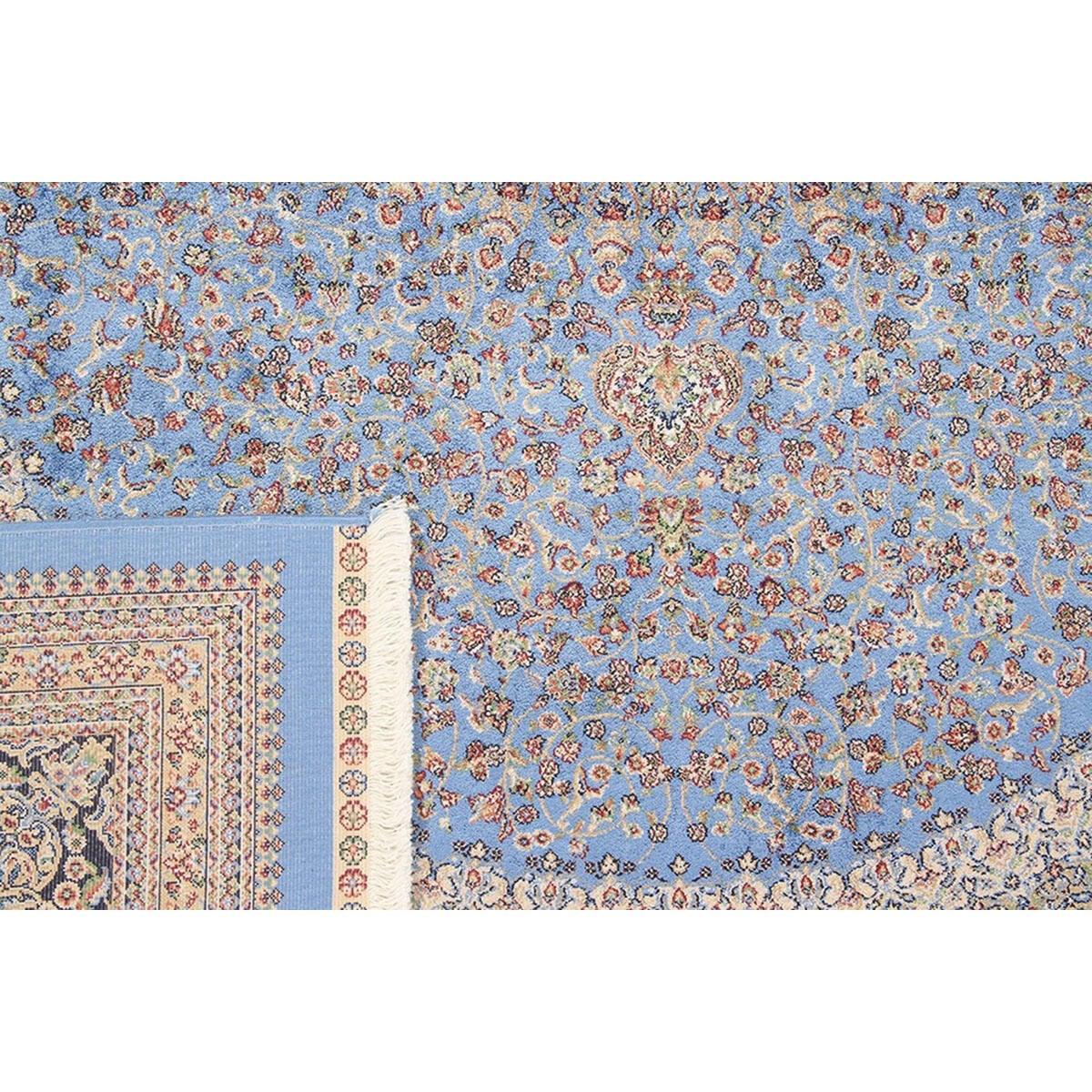 Tappeto Qoum Shah 5 in cotone, blu, 200x290 - 3