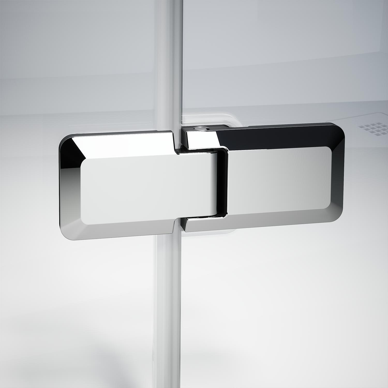 Parete fissa e deflettore L 118, H 200 cm, vetro 8 mm trasparente cromato - 5