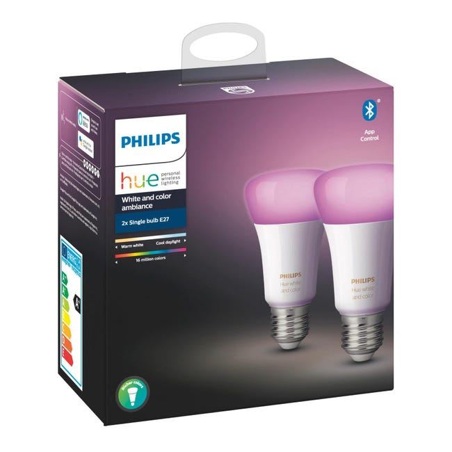 Set di 2 lampadine LED, HUE COLOR BLUETOOTH, E27, Goccia, Opaco, RGB, 9W=806LM (equiv 60 W), 150° , PHILIPS HUE - 1