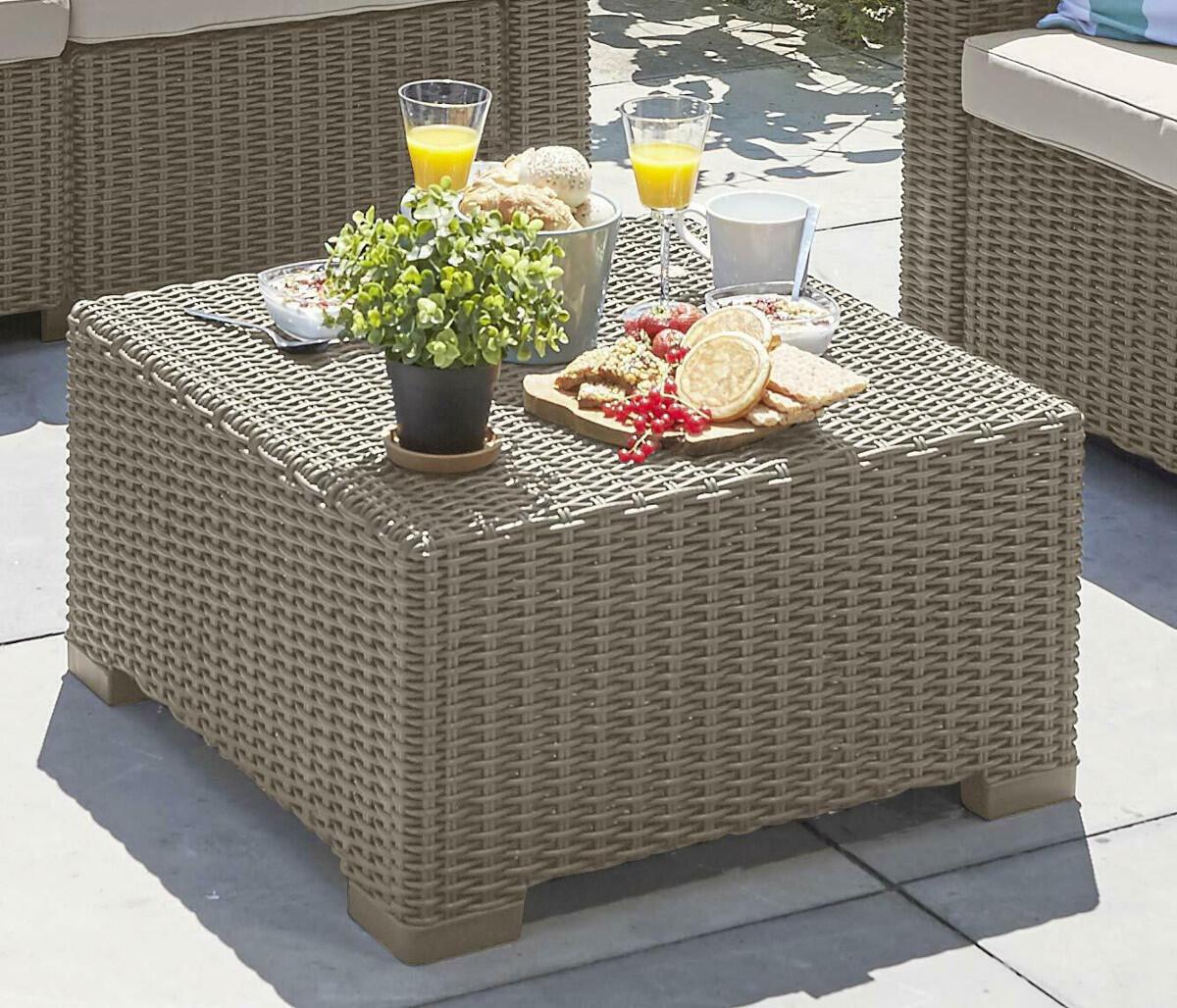 Tavolino da giardino quadrata California KETER con piano in resina L 68 x P 68 cm - 2
