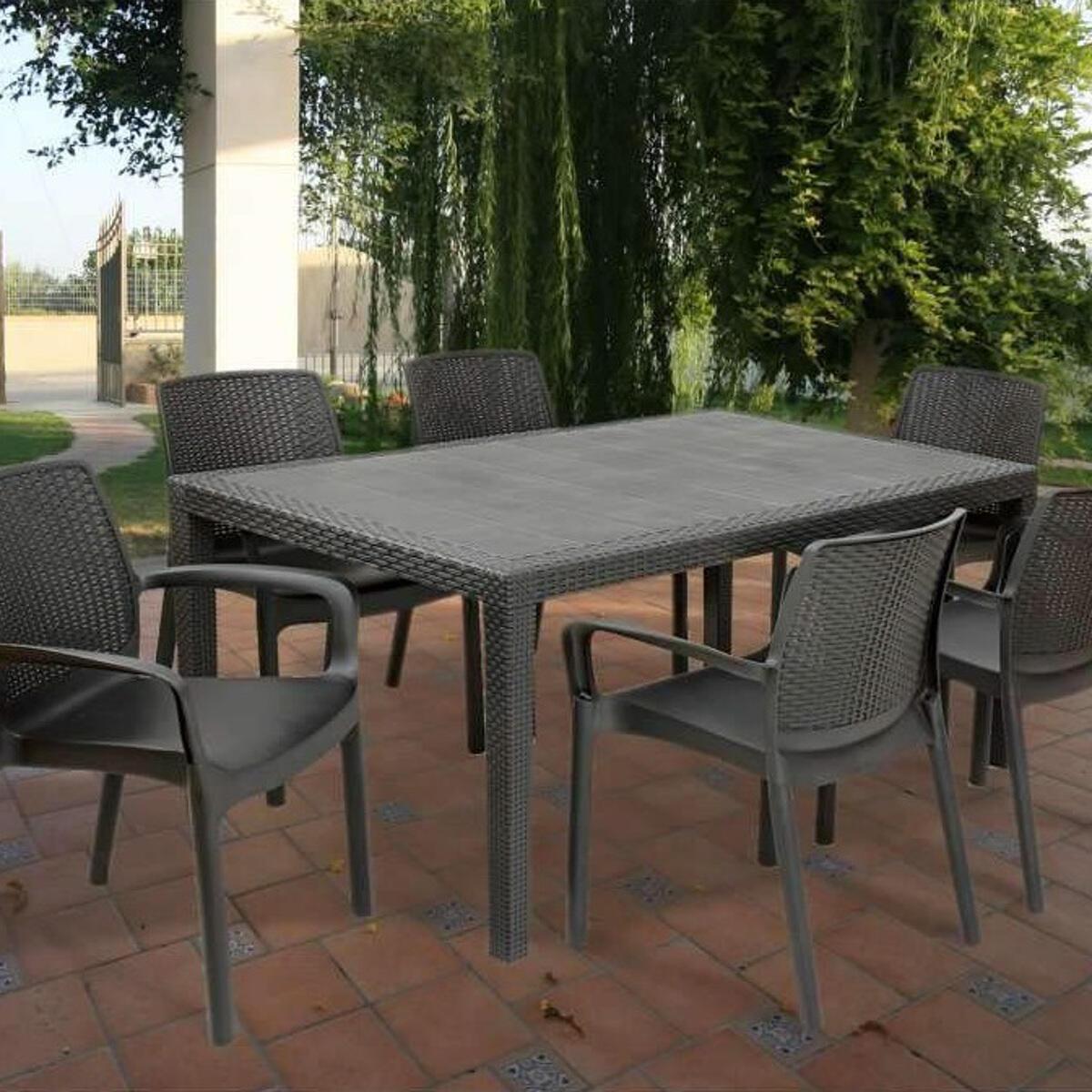 Tavolo da giardino rettangolare Prince con piano in resina L 90 x P 150 cm - 2