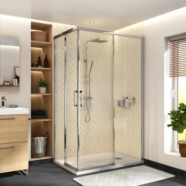 Box doccia rettangolare scorrevole Remix 70 x 120 cm, H 195 cm in vetro temprato, spessore 6 mm trasparente cromato - 1