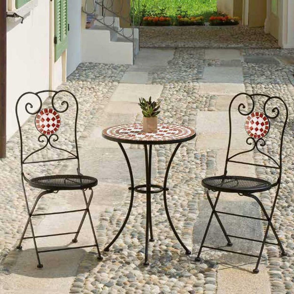 Tavolo da giardino tondo Tmt con piano in mosaico Ø 55 cm - 2