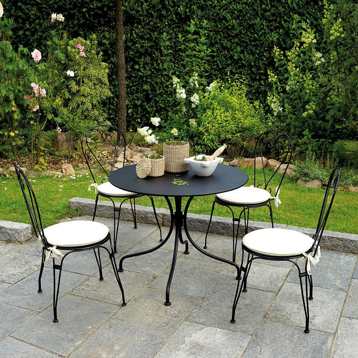Tavolo da giardino tondo tft con piano in ferro Ø 90 cm - 2