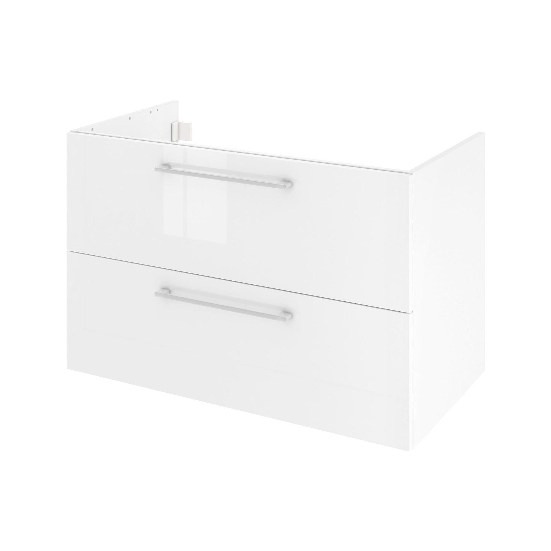 Mobile lavabo L 90 x P 48 x H 58 cm in agglomerato bianco - 1
