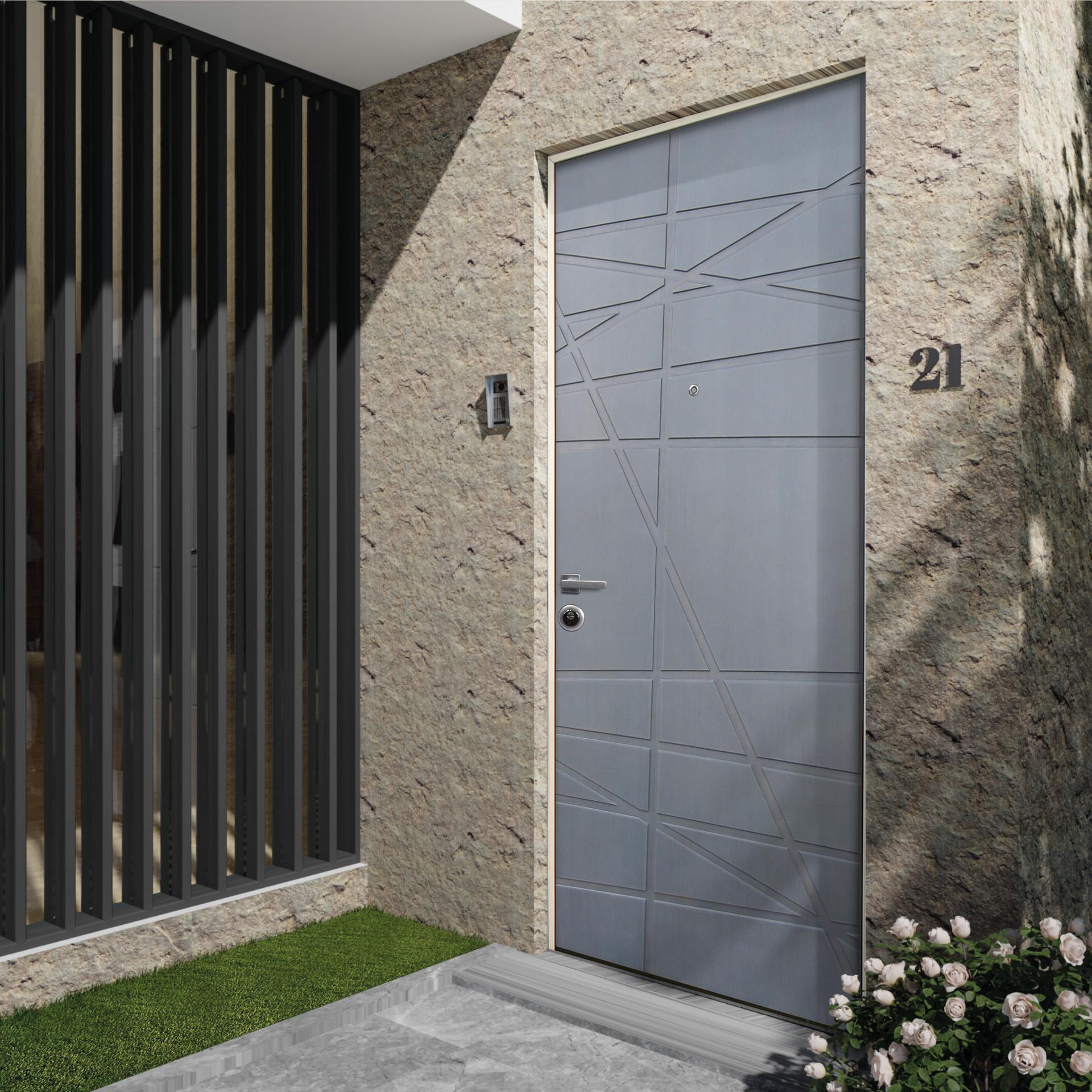 Porta blindata Invisible grigio L 90 x H 210 cm destra - 1