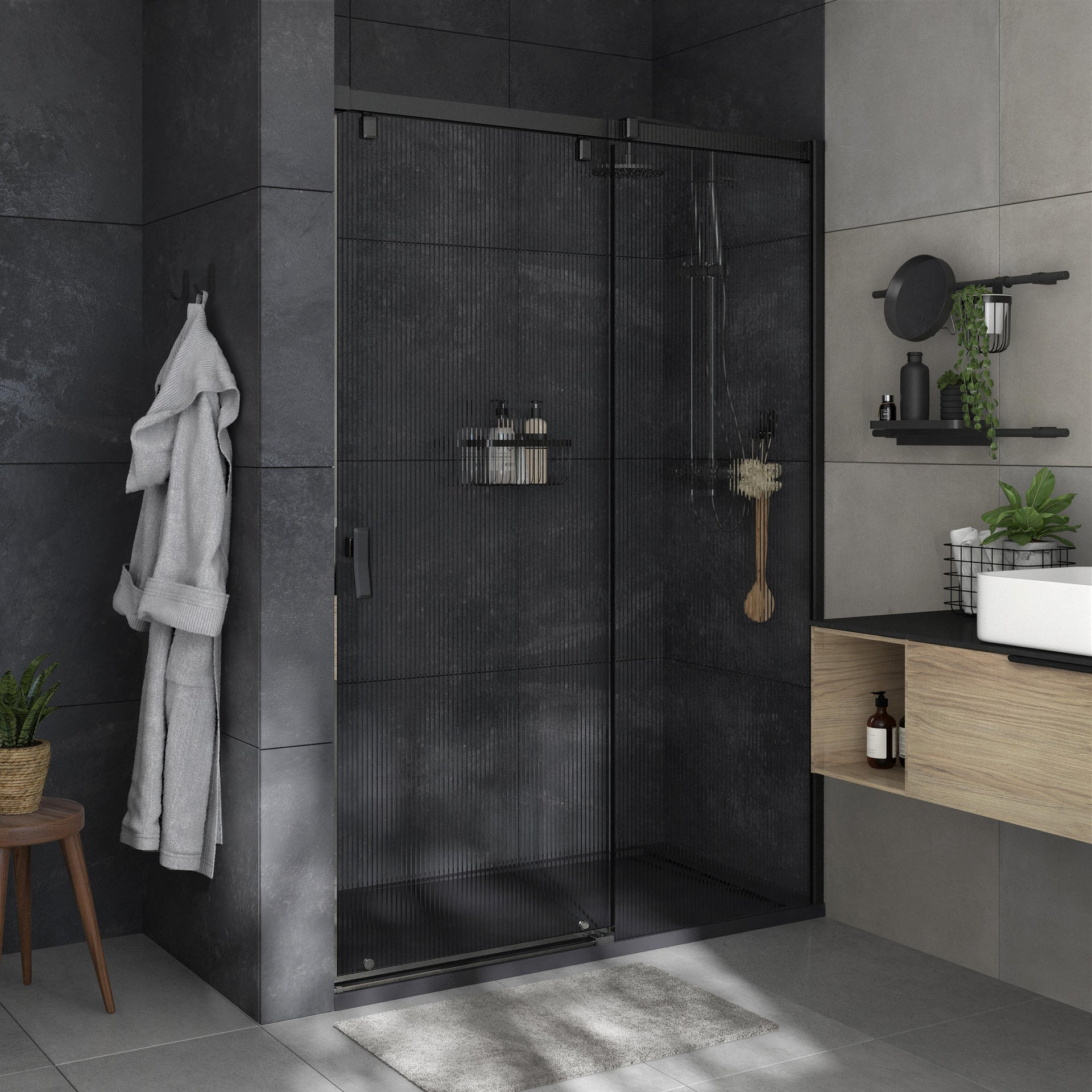 Box doccia angolare porta scorrevole e lato fisso rettangolare Neo 140 x 80 cm, H 200 cm in vetro temprato, spessore 8 mm strutturato nero - 1