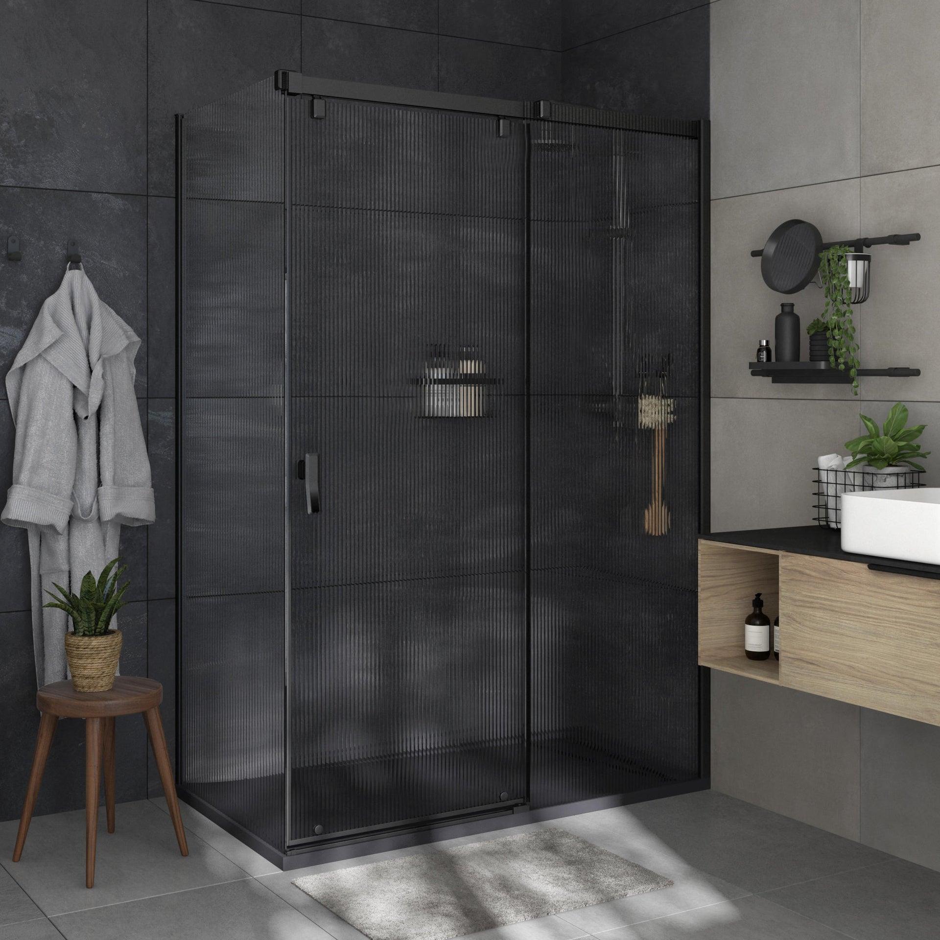 Box doccia angolare porta scorrevole e lato fisso rettangolare Neo 140 x 80 cm, H 200 cm in vetro temprato, spessore 8 mm strutturato nero - 2