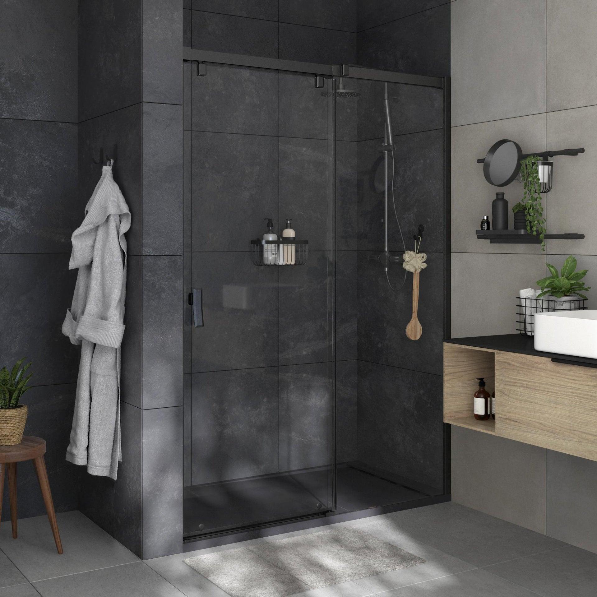 Box doccia angolare porta scorrevole e lato fisso rettangolare Neo 140 x 80 cm, H 200 cm in vetro temprato, spessore 8 mm trasparente nero