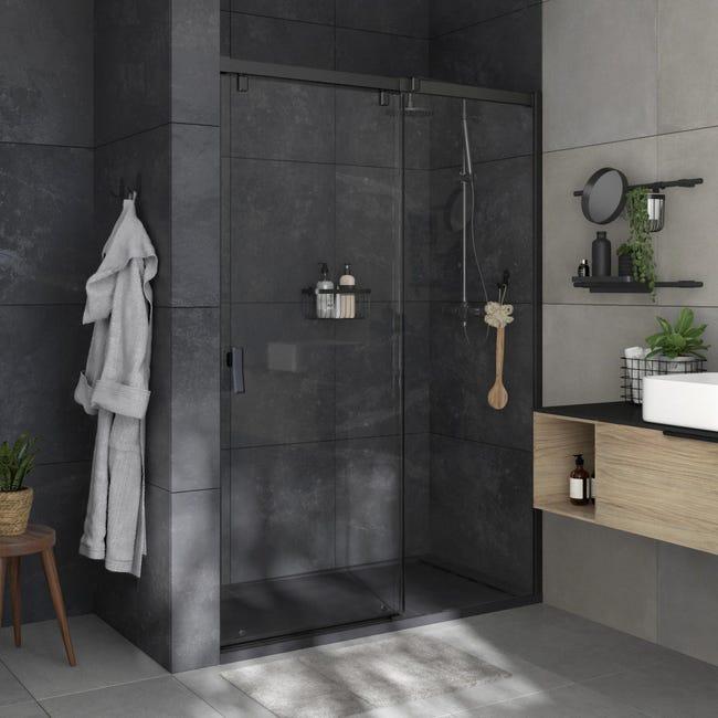 Box doccia angolare porta scorrevole e lato fisso rettangolare Neo 140 x 80 cm, H 200 cm in vetro temprato, spessore 8 mm trasparente nero - 1