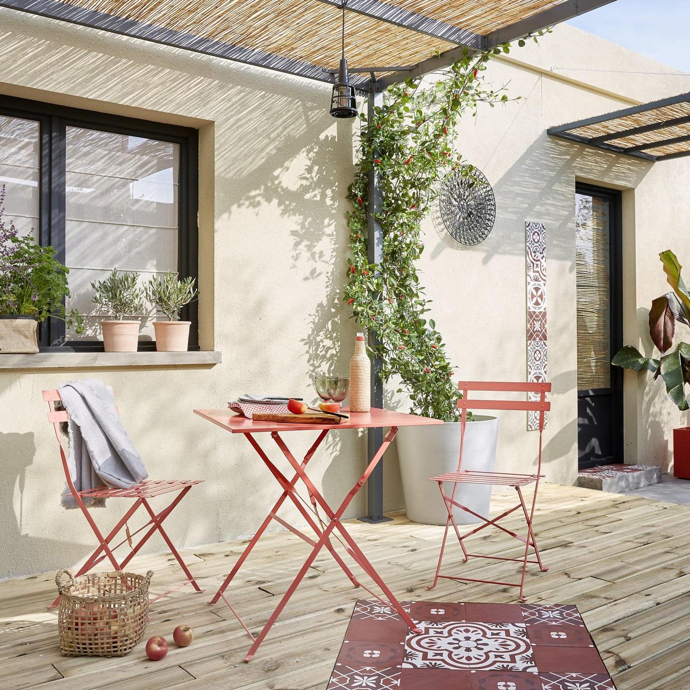 Set tavolo e sedie NATERIAL Origami in acciaio rosso 2 posti - 1