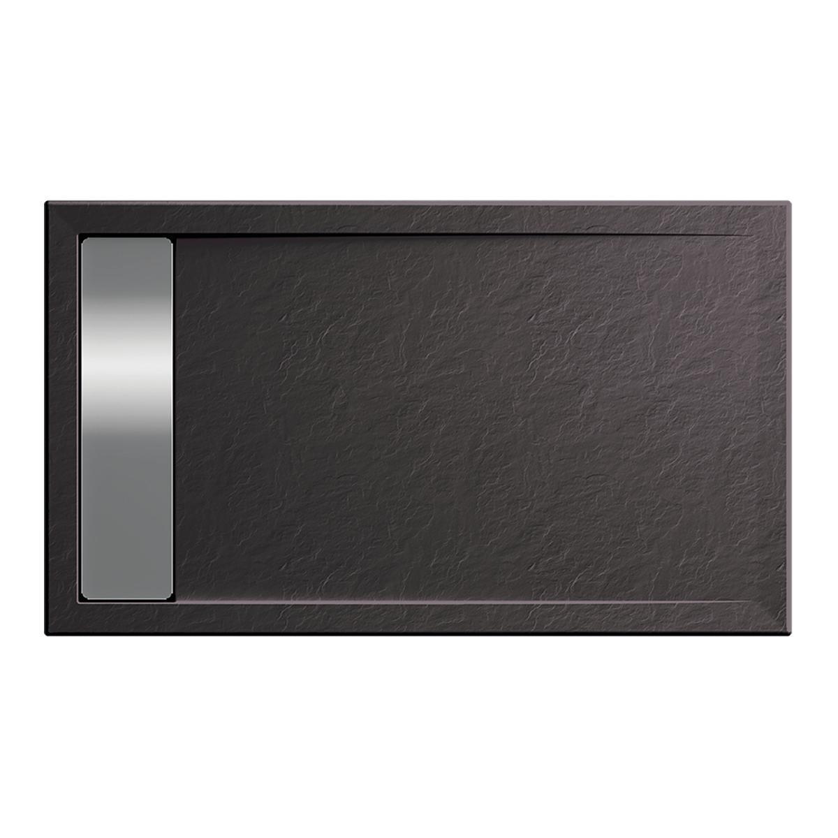 Piatto doccia acrilico rinforzato fibra di vetro Bali Stone 90 x 70 cm grigio antracite con superficie effetto ardesia - 2
