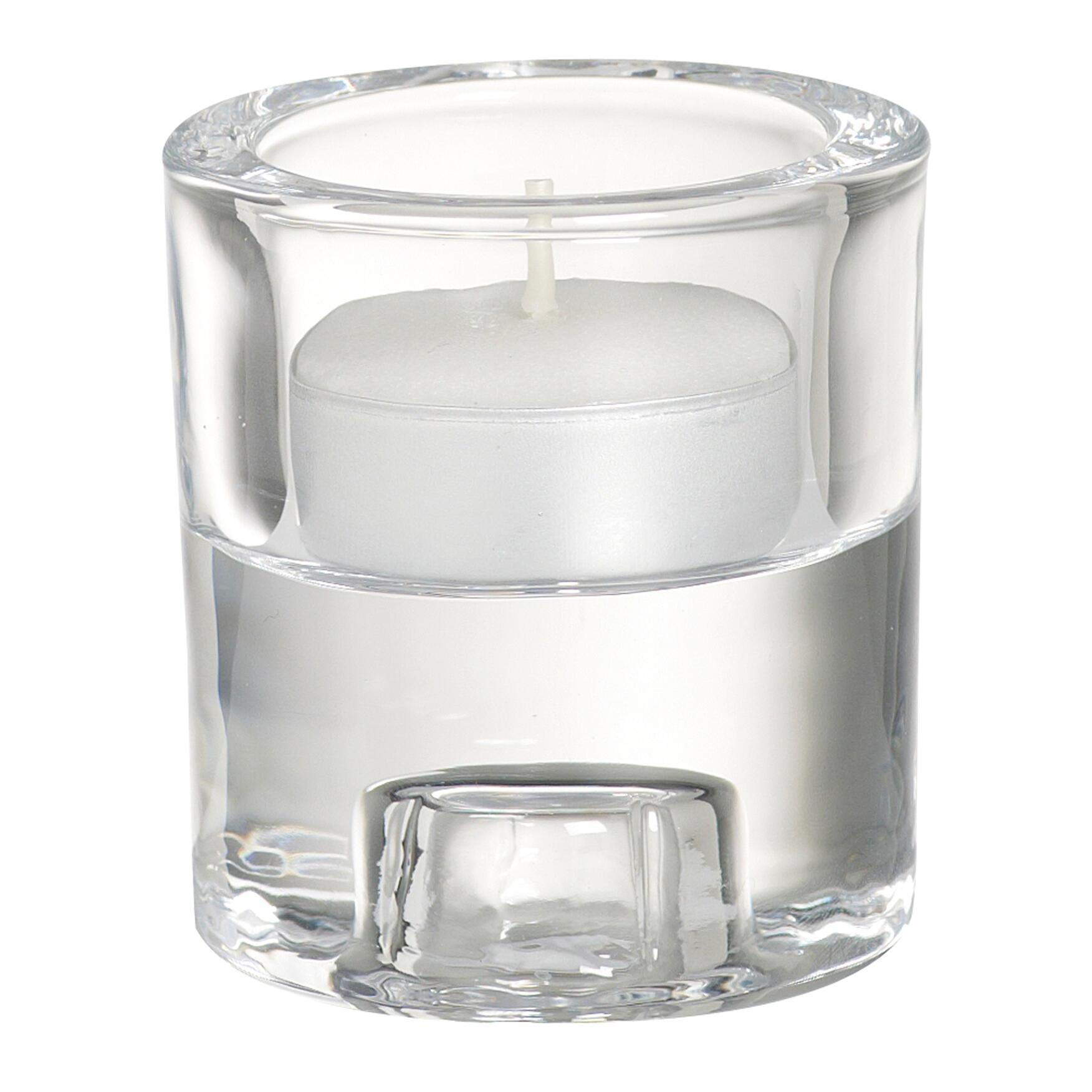 Porta tea light in vetro trasparente H 6 cm, L 6.5 x Ø 6.5 cm