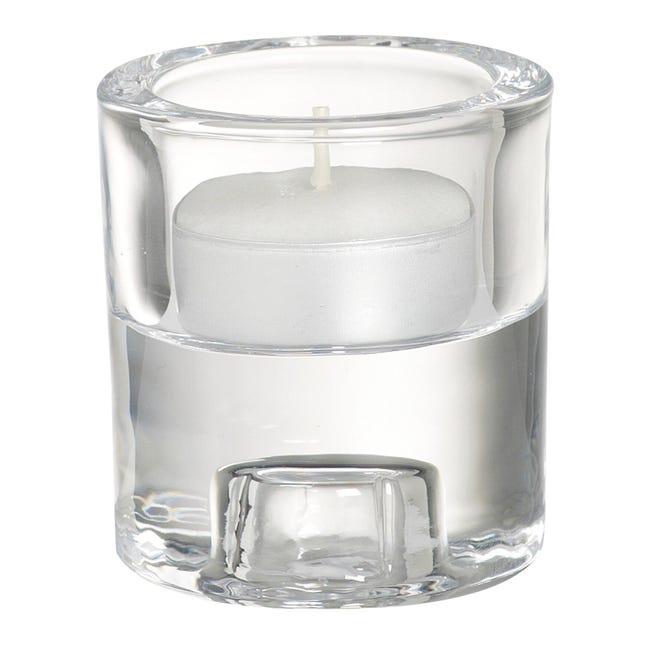 Porta tea light in vetro trasparente H 6 cm, L 6.5 x Ø 6.5 cm - 1