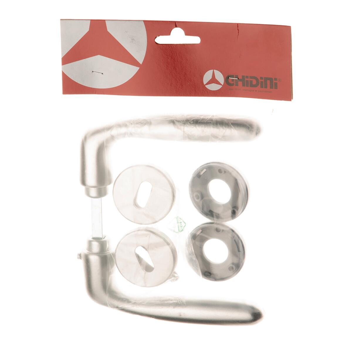 Maniglia con rosetta e bocchetta GHIDINI Itaca in alluminio satinato - 3