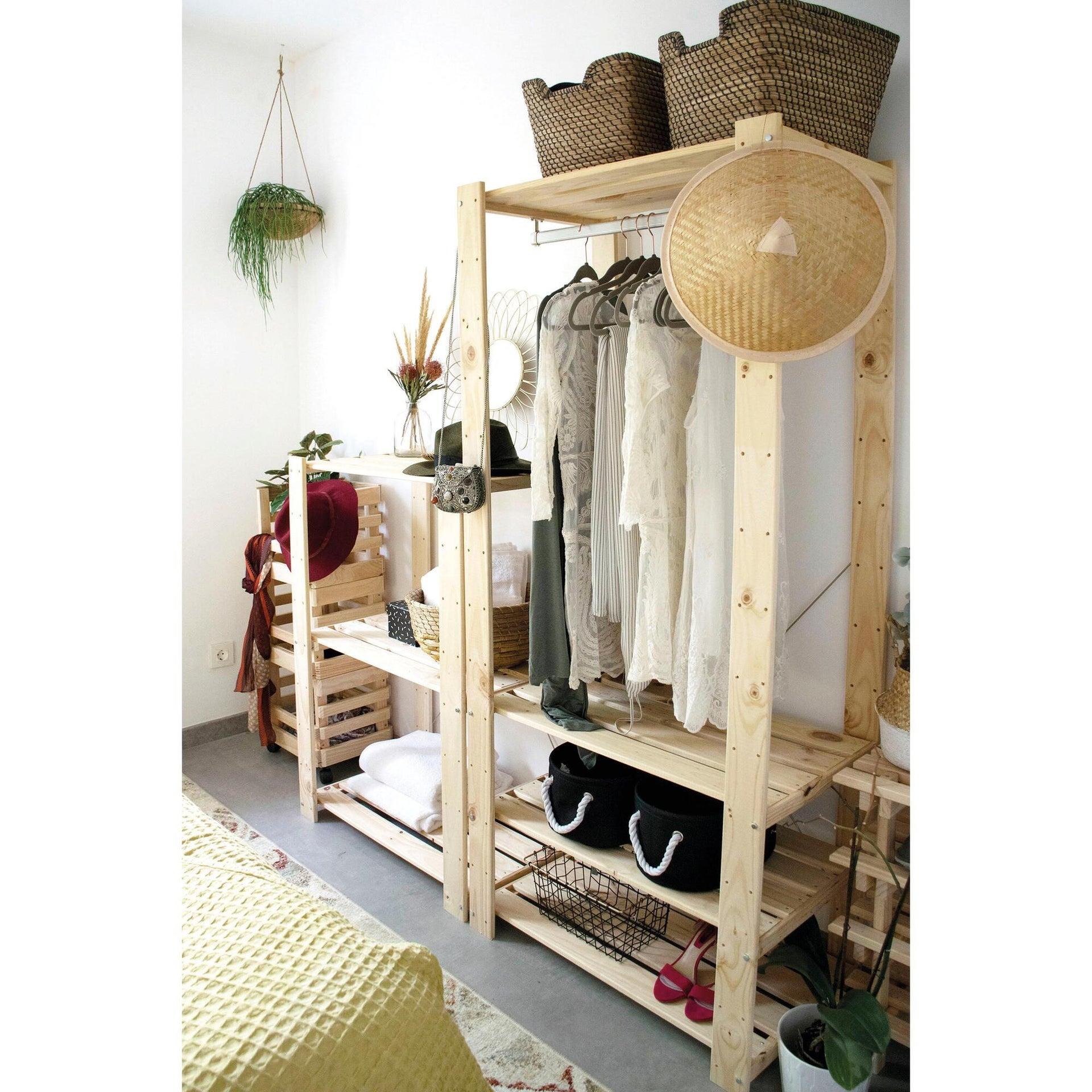 Scaffale in legno in kit Evolution L 76.7 x P 43 x H 111 cm naturale - 6