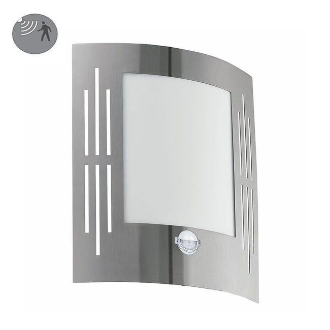 Applique City 1 alluminio con sensore di movimento, in acciaio inossidabile, grigio, E27 MAX60W IP44 EGLO - 1