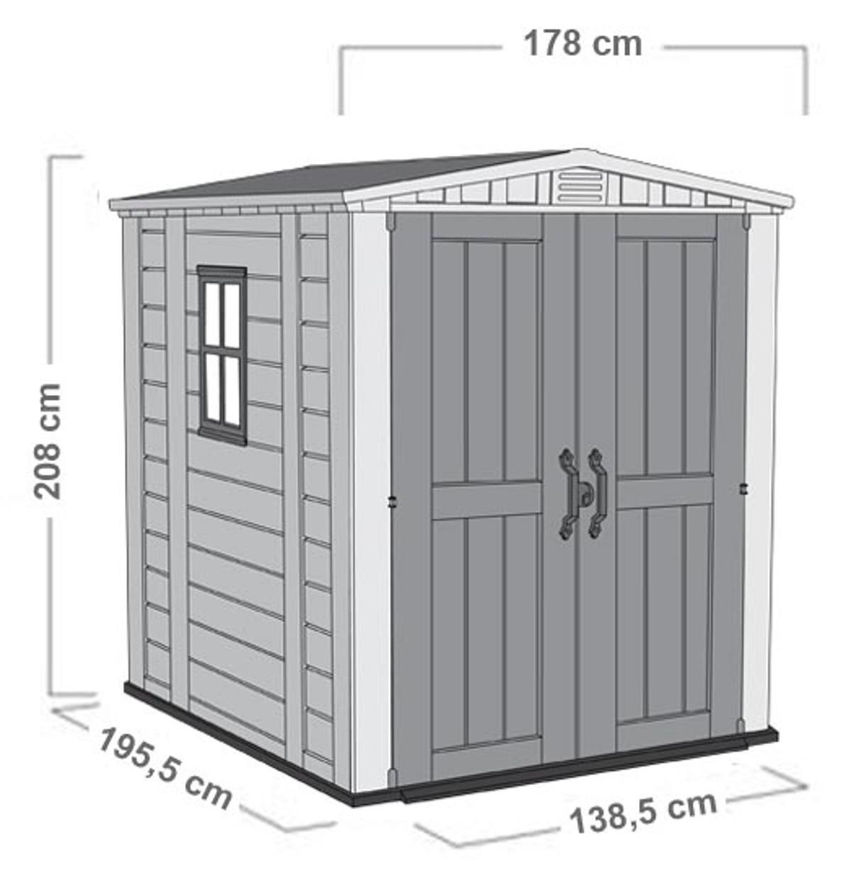 Casetta da giardino in polipropilene Factor, superficie interna 2.95 m² e spessore parete 16 mm - 2