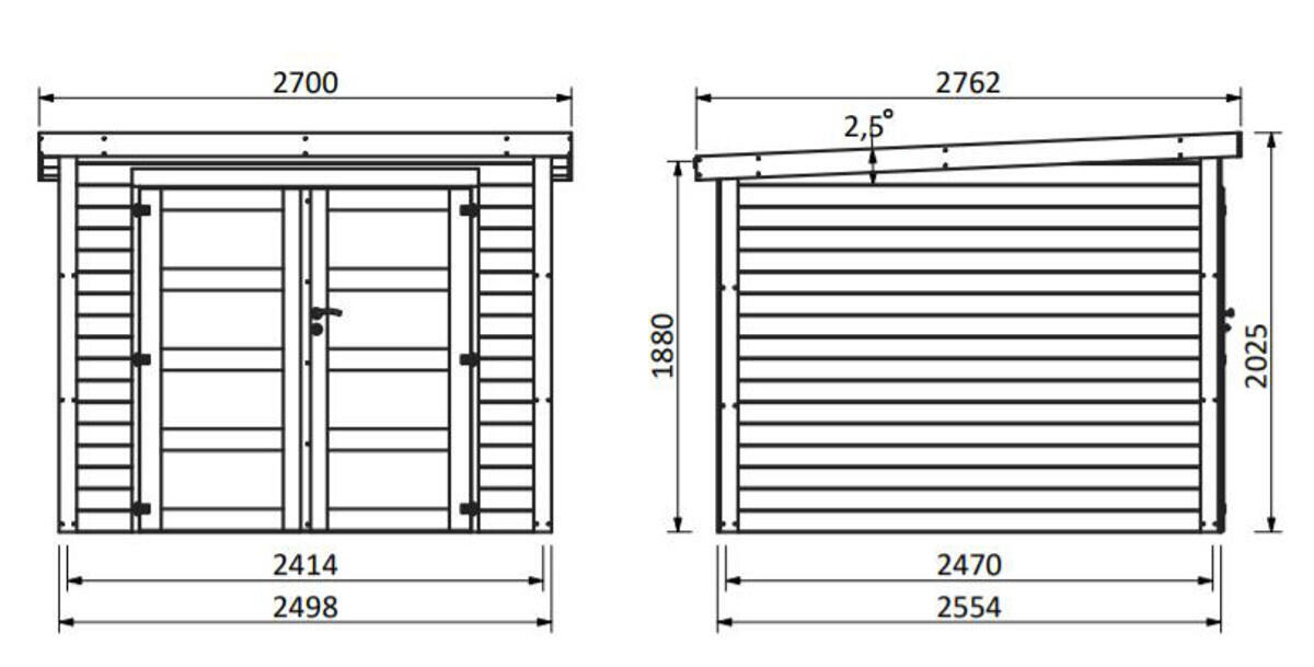 Casetta da giardino in legno Viola, superficie interna 5.96 m² e spessore parete 28 mm - 4