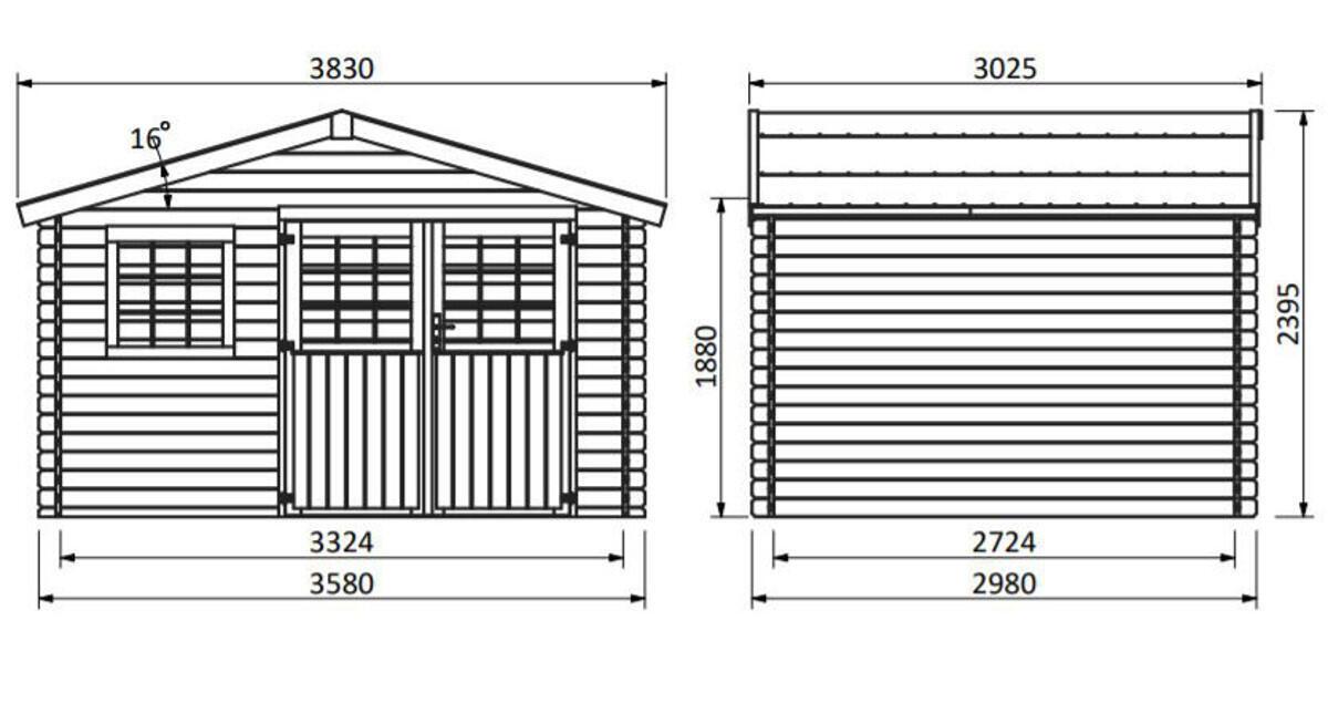 Casetta da giardino in legno Azalea, superficie interna 9.05 m² e spessore parete 28 mm - 7