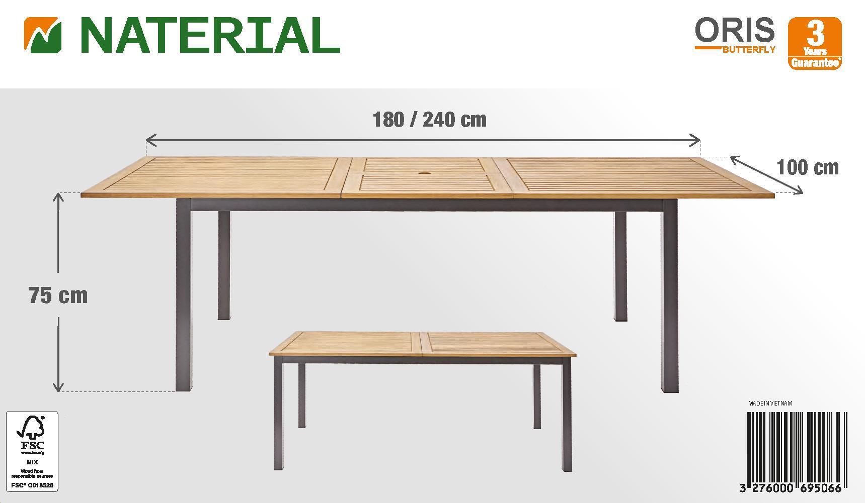 Tavolo da giardino allungabile rettangolare Oris NATERIAL con piano in legno L 180/240 x P 98.9 cm - 22