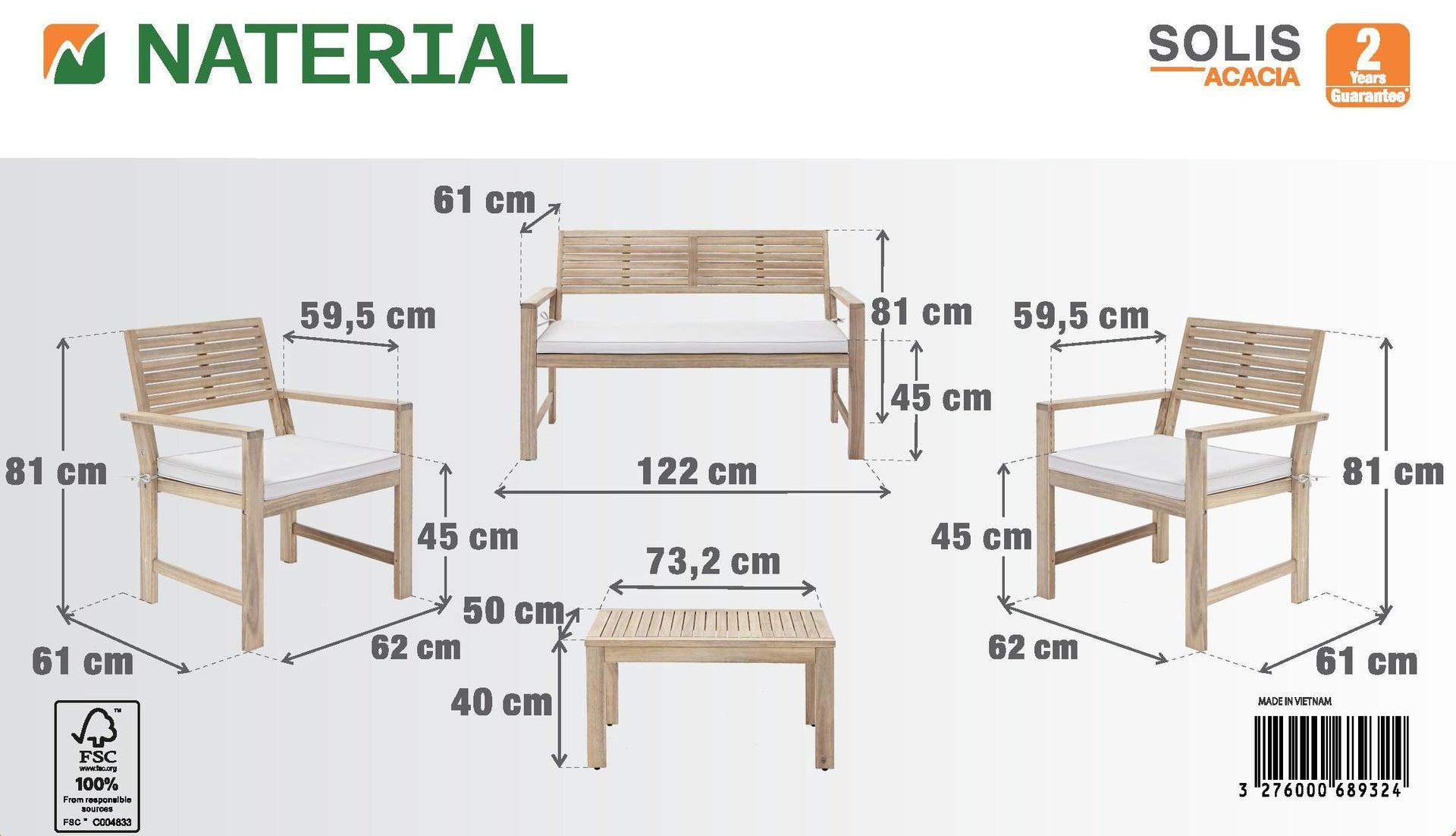 Coffee set rivestito in legno NATERIAL Solis per 4 persone - 14