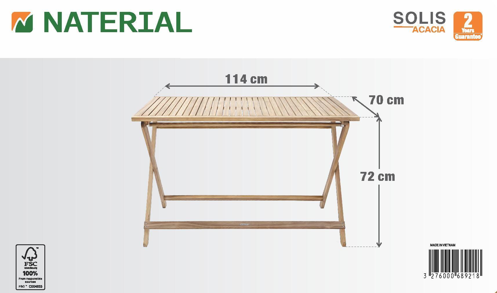Tavolo da giardino rettangolare Solis NATERIAL con piano in legno L 70 x P 114 cm - 8